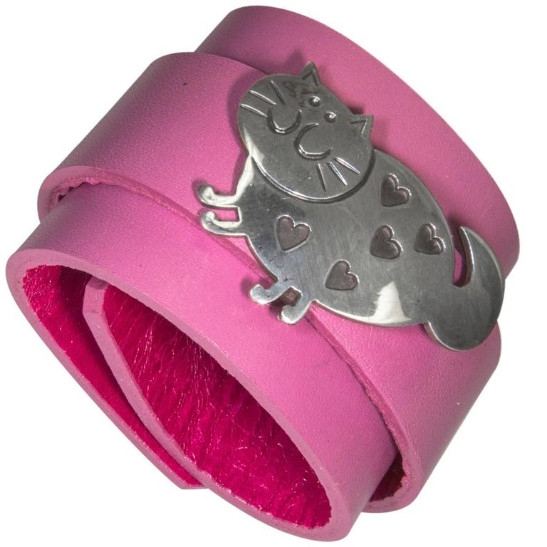 Sterling Silver Cheshire Cat on Leather Cuff Bracelet For Sale