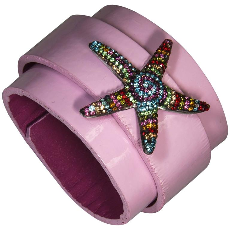 Sterling Silver CZ Starfish on Leather Cuff Bracelet For Sale