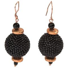 Avant Garde Large Black Beaded Beads and Copper Dangle Earrings