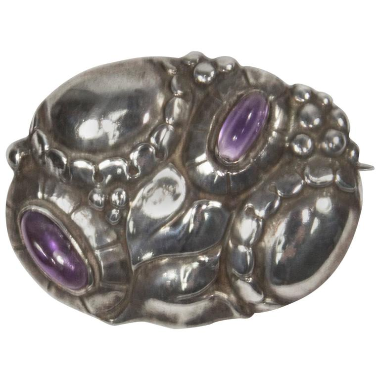 Theodor Fahrner Jugendstil Amethyst Sterling Silver Brooch Pin For Sale