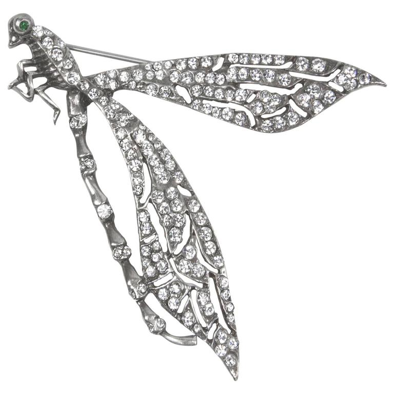 Stunning Large Runway Cubic Zirconia Sterling Silver Dragonfly Brooch Pin 1