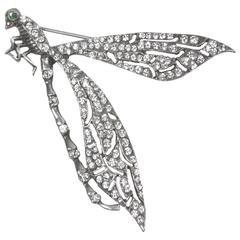 Stunning Large Runway Cubic Zirconia Sterling Silver Dragonfly Brooch Pin