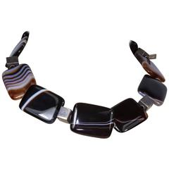 Banded Agate Sterling Silver Necklace
