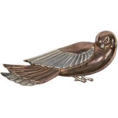 Art Deco Copper and Silver Dove Bird Brooch Pin