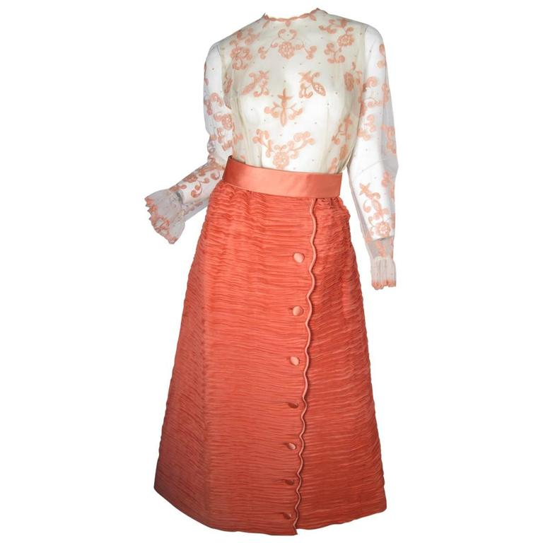 Sybil Connolly Lace Blouse and Pleated Irish Linen Skirt, 1960s Couture For Sale