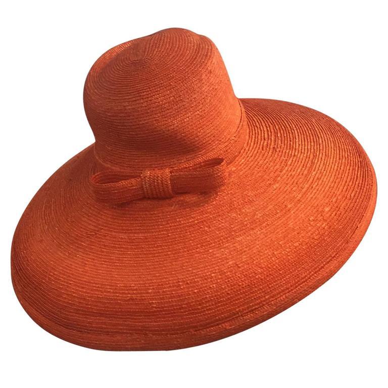 1960s Frank Olive Tangerine Straw Sun Hat w/ Bow Trim 1