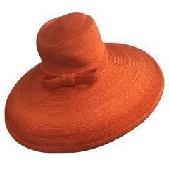 1960s Frank Olive Tangerine Straw Sun Hat w/ Bow Trim