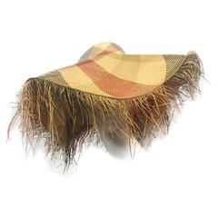 1940s Woven Plaid Straw Sun Hat with Dramatic Straw Fringed Brim