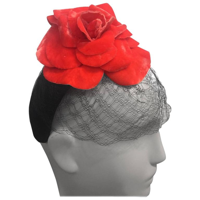 1980s Caroline Morris Velvet Headband Hat with Coral Camilla and Veil 1