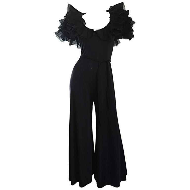 Exquisite Vintage Mignon Black Chiffon Sleeves Jersey Belted Wide Leg Jumpsuit For Sale