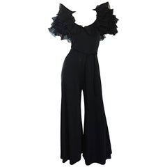 Exquisite Vintage Mignon Black Chiffon Sleeves Jersey Belted Wide Leg Jumpsuit