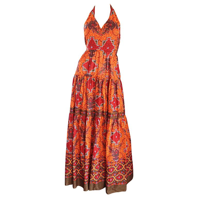 1970s Frank Usher of London Couture Boho Ethnic Tribal Print Halter Maxi Dress For Sale