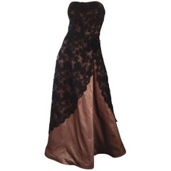 Incredible Vintage Rose Taft 1950s Style Black + Brown Lace + Silk Taffeta Gown