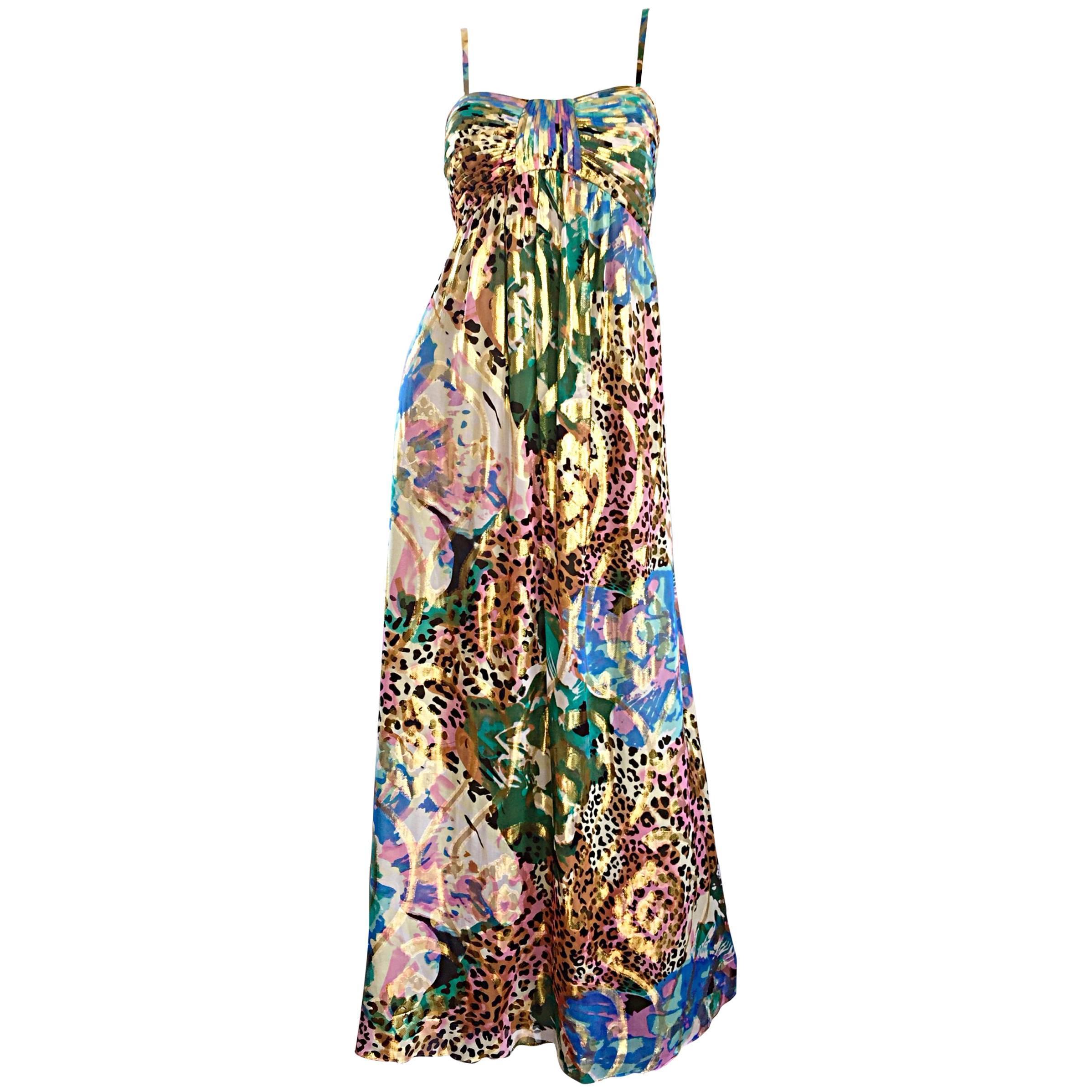 Vintage Oleg Cassini Multi Print Leopard Metallic Floral Abstract Empire Dress