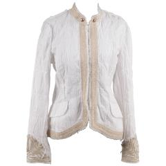 ERMANNO DAELLI White Crinckled COLLARLESS JACKET w/ Embroidery SIZE 44