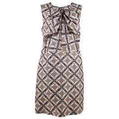 MARNI Gray White Black Silk SLEEVELESS Sheath DRESS Size 38