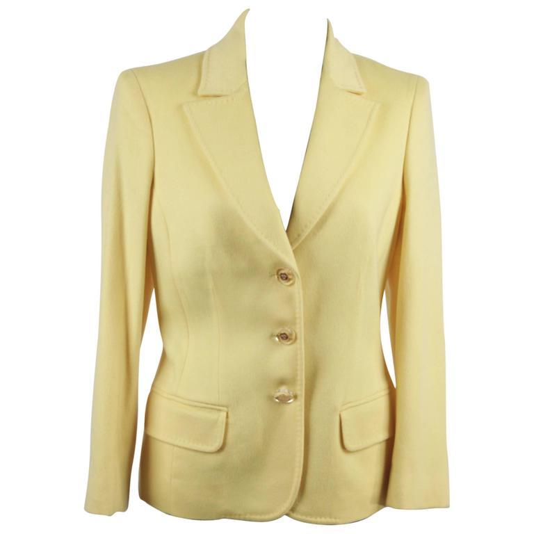 VERSACE Bright Yellow Cashmere Blend BLAZER Jacket SIZE 40 1
