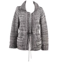 CHANEL Gray Cashmere Blend CARDIGAN Knit JACKET w/ Rhinestones SIZE 38
