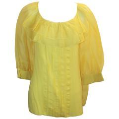 Oscar de la Renta Yellow Silk Chiffon Blouse with Ruffles - 12