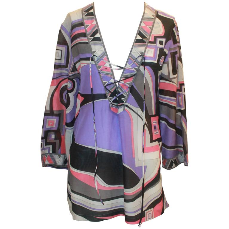 Emilio Pucci Purple & Pink Printed Tunic Top w/ Front Tie - 8