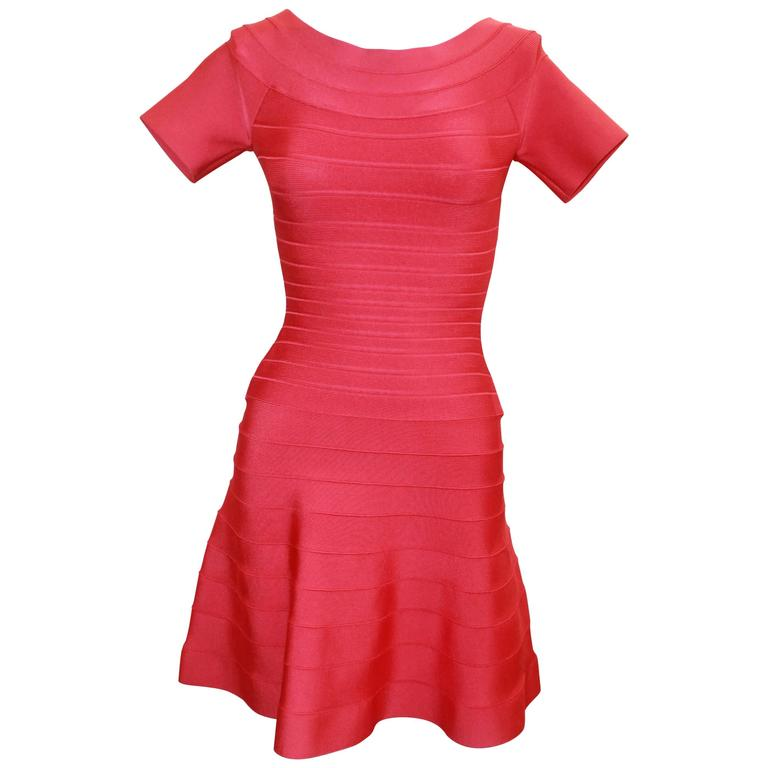 Herve Leger Raspberry Stretch Short Sleeve Dress - XS For Sale