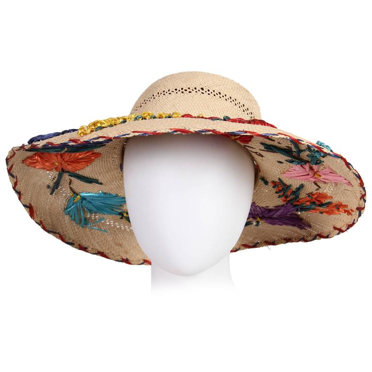 1960s Hand Embroidered Straw Hat For