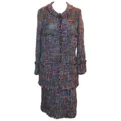 Chanel Vintage Multi-color Tweed Skirt Suit - M - circa 1980's