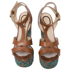 Etro Brown Leather and Turquoise Sole Wedged Sandals