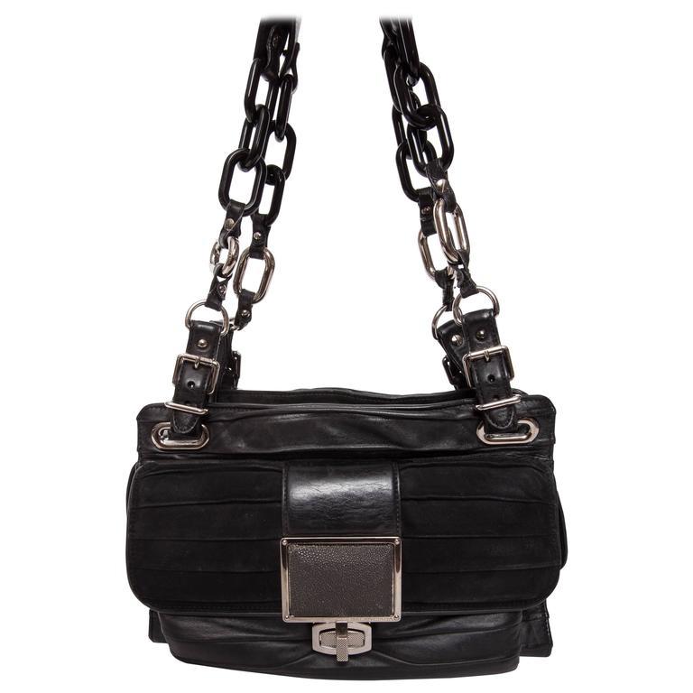 Balenciaga Cherche Midi Crinkle Bag in Black