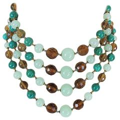 1950's Miriam Haskell Green Beaded Four Strand Necklace