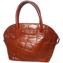 Vintage Mulberry croc embossed brown leather tote bag in bolide bag style.