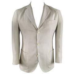 LORO PIANA 38 Short Khaki Striped Cashmere / Silk Sport Coat