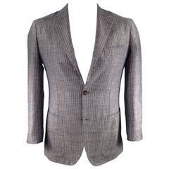 KITON Men's 38 Short Blue & Brown Cashmere Blend Sport Coat