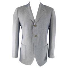 LUIGI BORRELLI 44R Blue Blended Wool Sports Jacket