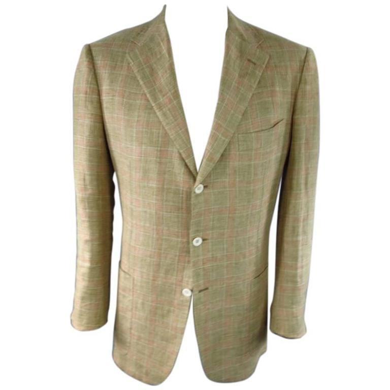 KITON 44 Regular Khaki Linen Sport Coat at 1stdibs