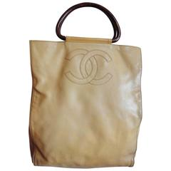 Vintage CHANEL beige caviarskin large shopper, tote bag with CC stitch mark ita