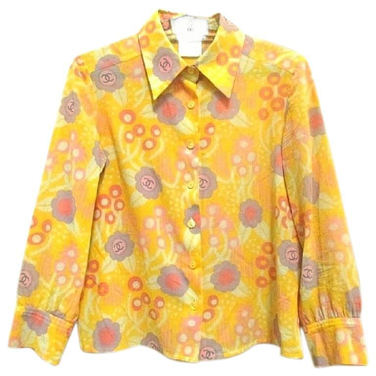 Vintage CHANEL yellow, pink, orange, etc floral print cotton blouse, shirt. 34 For Sale