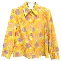Vintage CHANEL yellow, pink, orange, etc floral print cotton blouse, shirt. 34