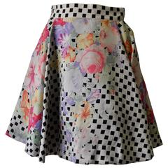 Extremely Rare Gianni Versace Couture Floral Check Print Silk Flare Skirt