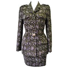 Gianni Versace Istante Floral Militaire Mini Skirt Suit