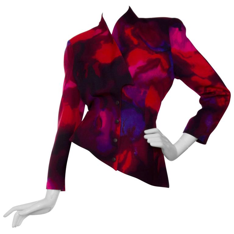 1980s Thierry Mugler Wool Blazer  For Sale
