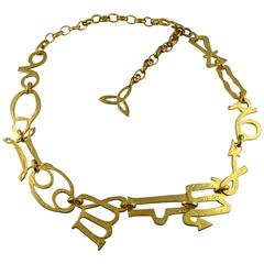 Kenzo Vintage Gold Toned Zodiac Belt Necklace
