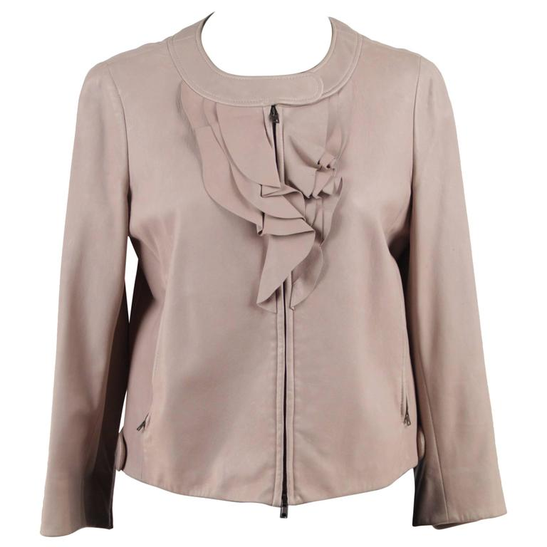 MIU MIU Light Gray Grey Zip Front LEATHER JACKET w/ Frills SIZE 40