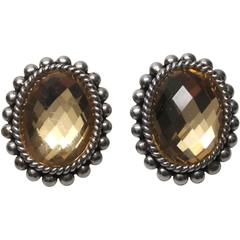 Stephen Dweck Sterling Silver and Yellow Citrine Beveled Earrings