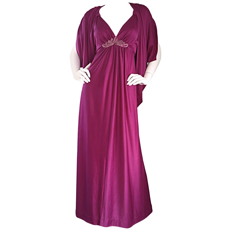 1970s Wine / Burgundy 70s Vintage Beaded Disco Maxi Dress w/ Matching Shrug For Sale