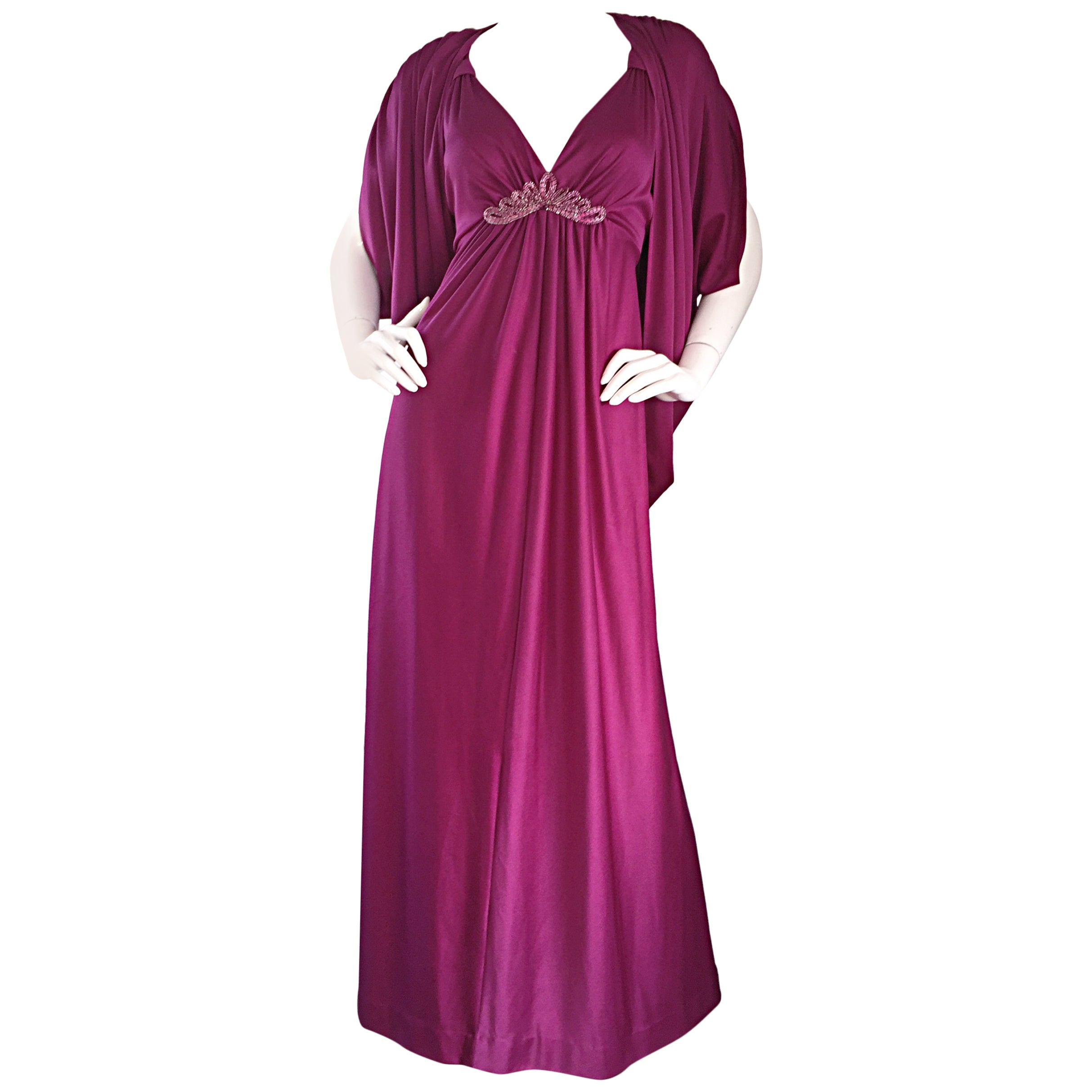 1970s Wine / Burgundy 70s Vintage Beaded Disco Maxi Dress w/ Matching Shrug