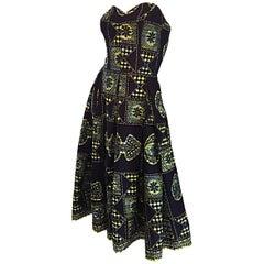 1950s Strapless Navy Blue + Yellow Hawaiian Tribal Print Cotton Rockabilly Dress