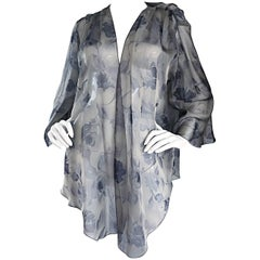 Vintage Bill Blass Size 14 Gray Silk Chiffon Beautiful Rose Print Kimono Jacket