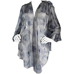 Vintage Bill Blass Gray Silk Chiffon Beautiful Rose Print Kimono Jacket