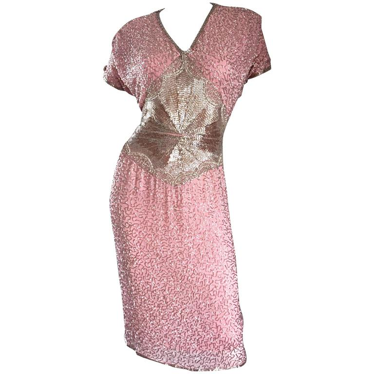 Gorgeous Vintage Oleg Cassini Pink + Silver Heavily Beaded Silk Dress  For Sale